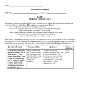 In-Depth Book Response Packet
