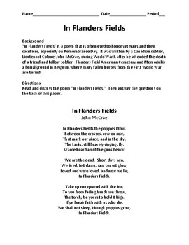 In Flanders Fields Questions - Remembrance Day Version