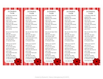 In Flanders Fields: Remembrance Day Bookmarks