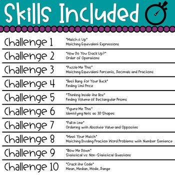 In It to Win It Math Review Games--6th Grade--TEST PREP--10 Challenges