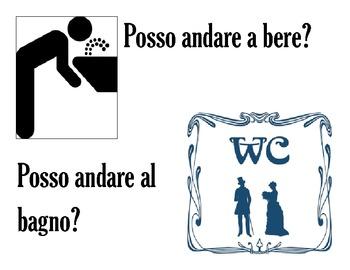 In Italian please! Posso andare al bagno / a bere classroom sign