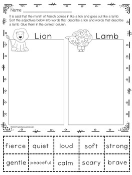 In Like a Lion Out Like a Lamb - Adjective Sort & Venn Diagram