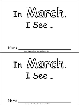 In March Emergent Reader Preschool Kindergarten Months of the Year