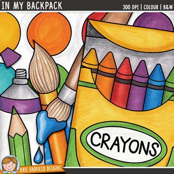 "School Supplies Clip Art: ""In My Backpack"""