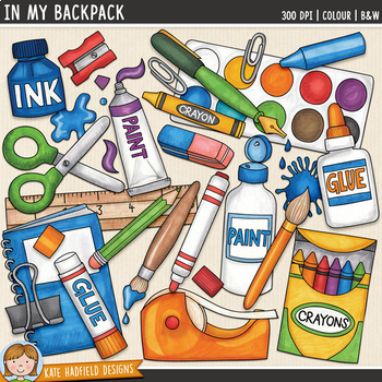 "School Supplies Clip Art: ""In My Backpack"""