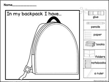 In My Backpack School Supply Emergent Reader Book & Cut & Paste Activity