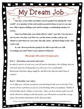 In My Dreams - Activity #5 - Surviving on a Salary