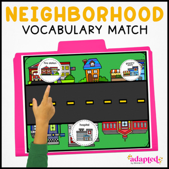 In My Neighborhood Vocabulary Folder Game for Special Education