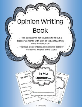 In My Opinion... Opinion Writing Book