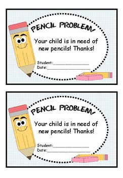 In Need of New Pencils!--Note to send home to Parents