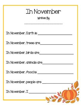 In November Poem Printable