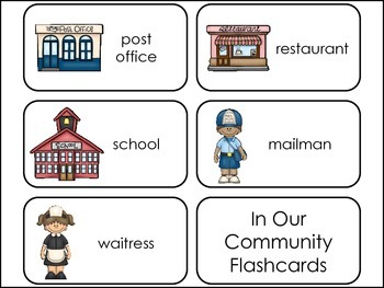In Our Community Picture Word Flash Cards.