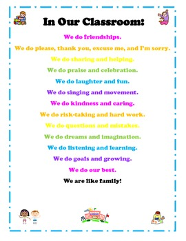 """""""In Our Classroom"""" Poster about what we do"""