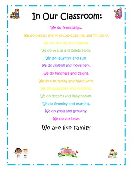 """In Our Classroom"" Poster about what we do"