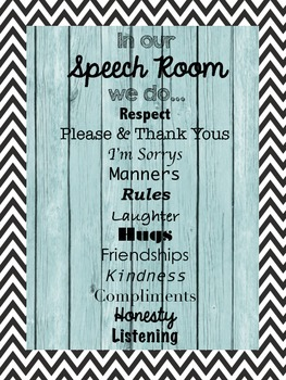 In Our Speech Room... {{Classroom Poster}}
