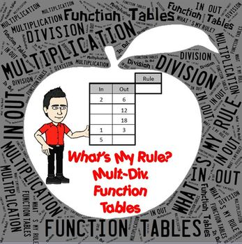 In-Out Function Table Multiplication & Division for Worksheets or Projector