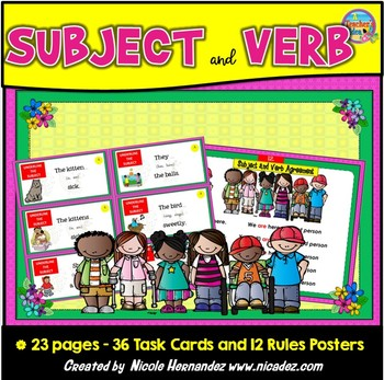 Subject Verb Agreement In Perfect Harmony 36 Sva Cards Tpt