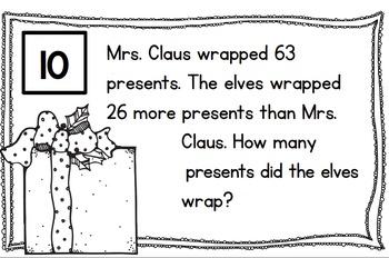 In Santa's Workshop -  Word Problem Task Cards to 100