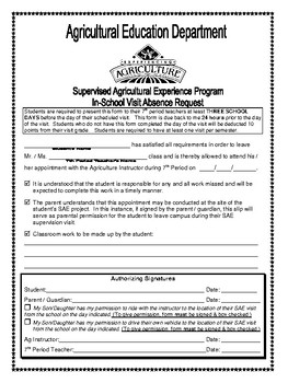 In School SAE Visit Permission Form
