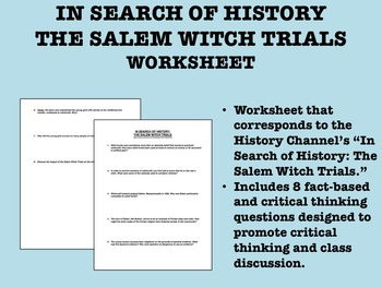 In Search of History worksheet - Salem Witch Trials - US History/APUSH