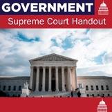 Supreme Court Handout   US Government   US History