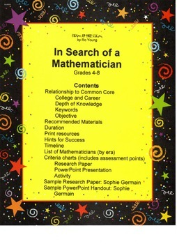 Math - In Search of a Mathematician: a cross-curricular investigation
