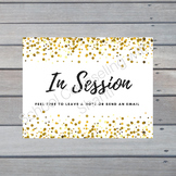 Gold Glitter In Session Counselor or Therapist Door Sign N