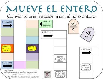 In Spanish: Convertir Fracciones a Números Enteros (Game For Math Centers)