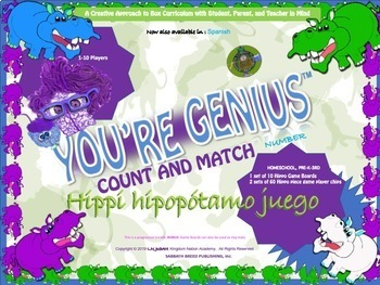 In Spanish, In-color learning, counting, matching, and reading Hippi Hippo Game