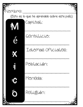 In Spanish  Spanish Speaking Countries: Mexico {Research Project}