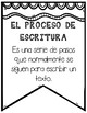 In Spanish |Steps of the Writing process {B&W POSTERS}