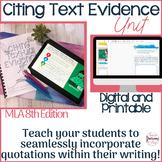 In-Text Citation Bundle, Parenthetical Citations MLA 8th Edition, Digital/Print