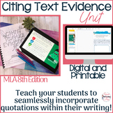 MLA 8th Edition In-Text Citation Unit- Citing and Embedding Textual Evidence