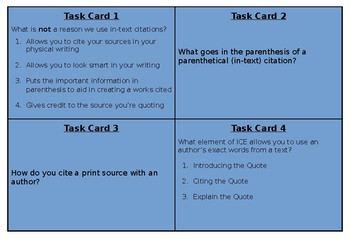 In-Text Citation Task Cards (Editable)