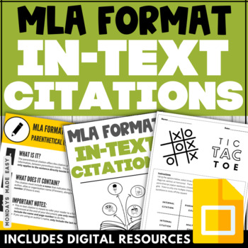 IN-TEXT CITATION WORKSHEETS MLA Format Practice Activities Digital Worksheets