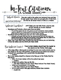In-Text Citations and MLA Cheat Sheet