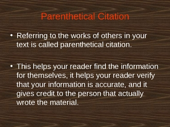 In-Text or Parenthetical Citations