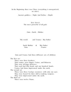 In the Beginning-Greek mythology