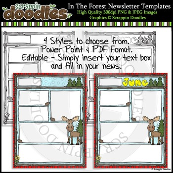 In The Forest 8 1/2 x 11 Newsletter Templates Color & Blac