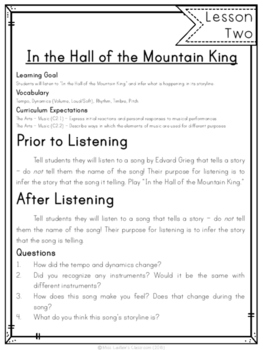 In The Hall of The Mountain King - 5 Lessons for Primary Students