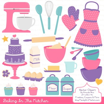 In The Kitchen Baking Clipart & Vectors in Crayon Box - Ba