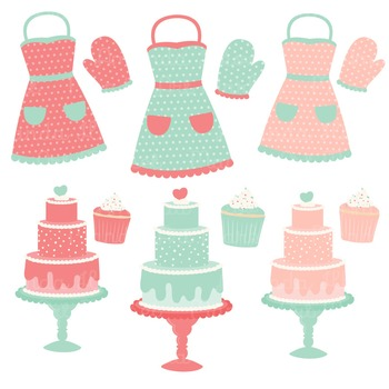 In The Kitchen Baking Clipart & Vectors in Mint & Coral - Baking Clip Art