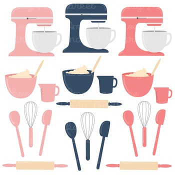 In The Kitchen Baking Clipart & Vectors in Navy & Blush - Baking Clip Art