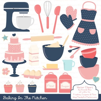 In The Kitchen Baking Clipart & Vectors in Navy & Blush -