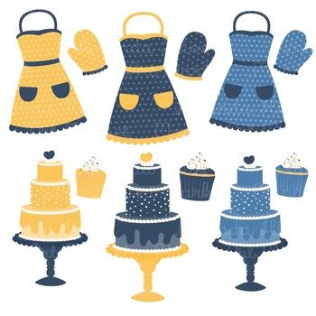 In The Kitchen Baking Clipart & Vectors in Navy & Lemon - Baking Clip Art