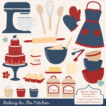 In The Kitchen Baking Clipart & Vectors in Americana - Bak