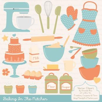 In The Kitchen Baking Clipart & Vectors in Vintage - Baking Clip Art
