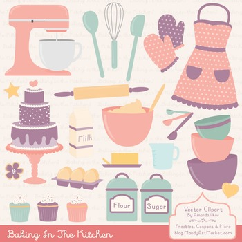 In The Kitchen Baking Clipart & Vectors in Vintage - Baking Clip Art
