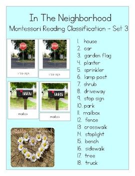 In The Neighborhood - Montessori Reading Classification Cards - Step 3