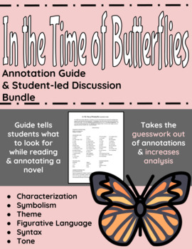 In The Time of Butterflies Annotation Guide and Student-led Discussion Bundle